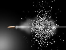 Bullet. Illustration - fired bullett breaks and passes through the ball Royalty Free Stock Image