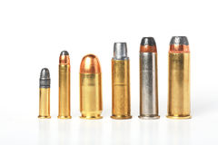 Bullet- ammo size compare. Bullet- ammo size compare over white background Royalty Free Stock Image