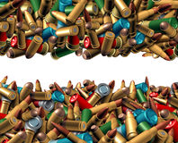 Bullet Ammunition Border. Isolated on a white background as a concept with a group of different calibre ammo in a mixed heap representing the risk of violence Stock Photography