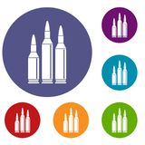 Bullet ammunition icons set. In flat circle reb, blue and green color for web royalty free illustration
