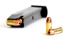 Bullet And Magazine For Gun Stock Image