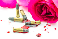 Bullet on blood and red rose on white background Royalty Free Stock Image