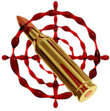 Bullet and blood target. Stock Photo
