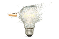 Bullet braking a light bulb, 3D rendering Stock Photography