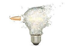 Bullet braking a light bulb, 3D rendering. On white background Stock Photography