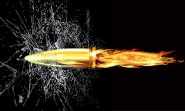 Bullet through broken glass. Vector art illustration Stock Photography