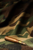 Bullet on camouflage backgroud. War theme background with a lot of space above bullet. That bullet is from World War II. Though you might  want fresh bullet  and Stock Photo