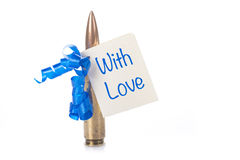 Bullet with a card isolated on a white background Stock Photos