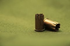Bullet Casings On Textile Royalty Free Stock Photography