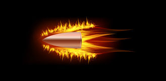 Bullet with fire flame. Vector illustration of burning fire flame bullet on black dark background Stock Photos