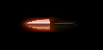 Bullet with fire flame Royalty Free Stock Image