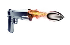 Bullet fired from a gun isolated on black Royalty Free Stock Photo