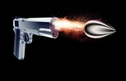 Bullet fired from a gun isolated on black Royalty Free Stock Photos