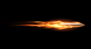 Bullet in flame. In vector on black background Royalty Free Stock Photography