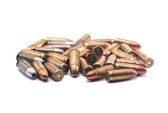 Bullet. A group of 9 MM bullet isolated on white Stock Image
