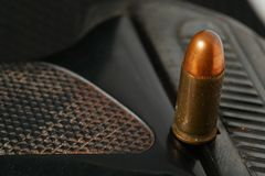 Bullet and gun scene. The pistol and bullet scene represent the weapon abstract concept related idea Stock Photo