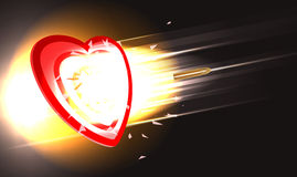 Bullet through heart. Vector concept illustration of golden bullet breaking through heart target, eps10 file, gradient mesh and transparency used Royalty Free Stock Photography