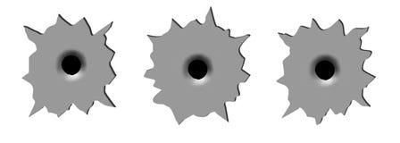Bullet hole. On white background Stock Photography