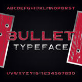 Bullet Hole Alphabet Vector Font. Distressed metallic letters and numbers with bullet holes and scratches Royalty Free Stock Image