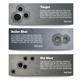 Bullet Hole Banners Collection. Set of three horizontal bullet shot hole realistic banners with editable text and read more button vector illustration Royalty Free Stock Images