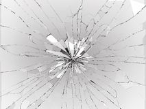 Bullet hole Cracked and Shattered glass on black. 3d rendering 3d illustration Royalty Free Stock Photo