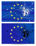 Bullet hole European Union flags. EU flags with a bullet hole. Vector set Stock Photos