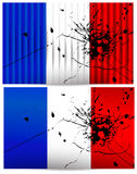Bullet hole France flags. France flags with a bullet hole. Vector set Stock Photography