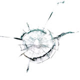 Through a bullet hole in the glass. On white background Royalty Free Stock Photos