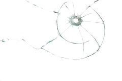 Bullet hole in glass. On white background Stock Photography