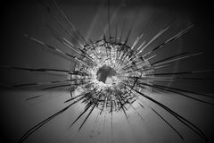 Bullet hole. On glass, Crime and violence Royalty Free Stock Photography