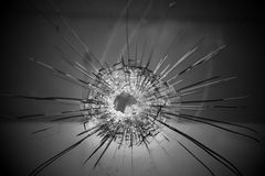 Bullet hole. On glass, Crime and violence Royalty Free Stock Image