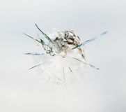 Bullet hole in the glass. Round bullet hole in the glass with radial cracks Royalty Free Stock Photo