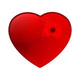 Bullet hole in heart. EPS 8 Stock Photos
