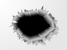 Bullet Hole Metal Crack. Vector  illustration  may be used as background Royalty Free Stock Images