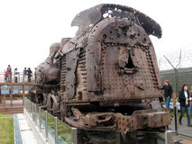 Bullet hole riddled train, DMZ, South Korea. Train engine riddled with over 1000 bullet holes, recovered from the demilitarised zone, between North and South Stock Image