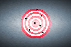 Bullet hole. On target. metal background. concept design Royalty Free Stock Images