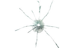 Bullet hole in the thick glass. Background Stock Images