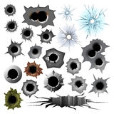 Bullet hole track trace sign gunshot crack torn steel war target break vector illustration. Stock Photos