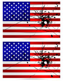 Bullet hole USA flags. USA flags with a bullet hole. Vector set Stock Photo