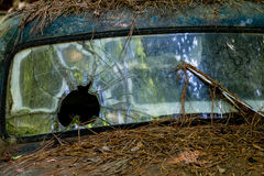 Bullet Hole in Windshield Royalty Free Stock Photography