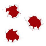 Bullet Holes. On white Stock Images