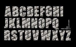 Bullet Holes alphabet set on black Royalty Free Stock Image