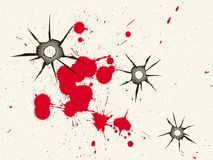 Bullet holes and blood Royalty Free Stock Images
