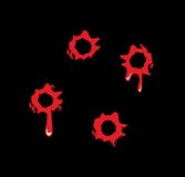 Bullet holes with blood splatters. Flat  illustration on black background Royalty Free Stock Image
