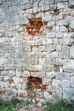 Bullet holes in the fortress Imperjal on the mountain Sdr in Dub. Rovnik Croatia stock image