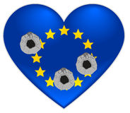 Bullet holes in heart of European Union flag. Isolated illustration in vector format Royalty Free Stock Photos