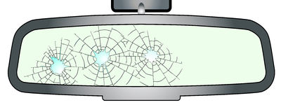 Bullet Holes in Rear View Mirror. A vehicle rear view mirror showing bullet holes over a white background Stock Photo