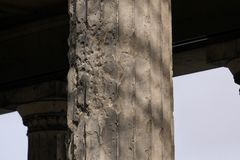 WW2 Bullet holes and shrapnel damage on a column in Berlin, Germany royalty free stock photography