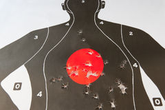 Bullet holes in the target Royalty Free Stock Photos