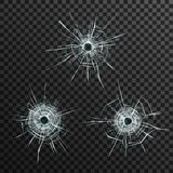 Bullet Holes Template. In glass on transparent gray background isolated vector illustration vector illustration